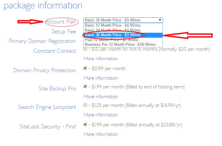Select the BlueHost $3.49 Plan