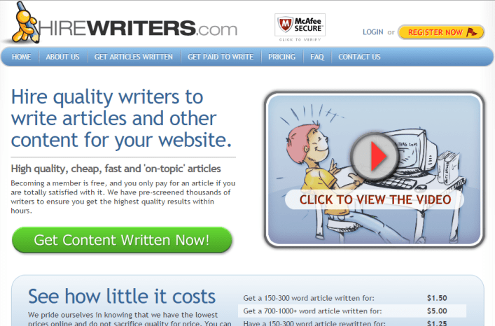 Hire Writers to Write Articles and Other Content