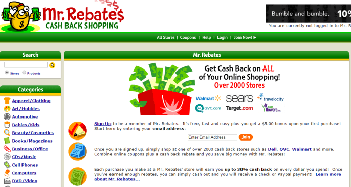 Get Cash Back on All Purchases