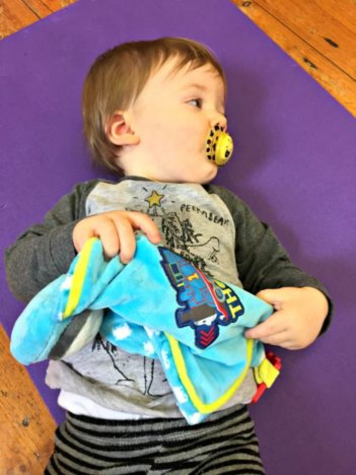 My First Thomas Comforter and Toy Review | Lying on a gym mat http://oddhogg.com