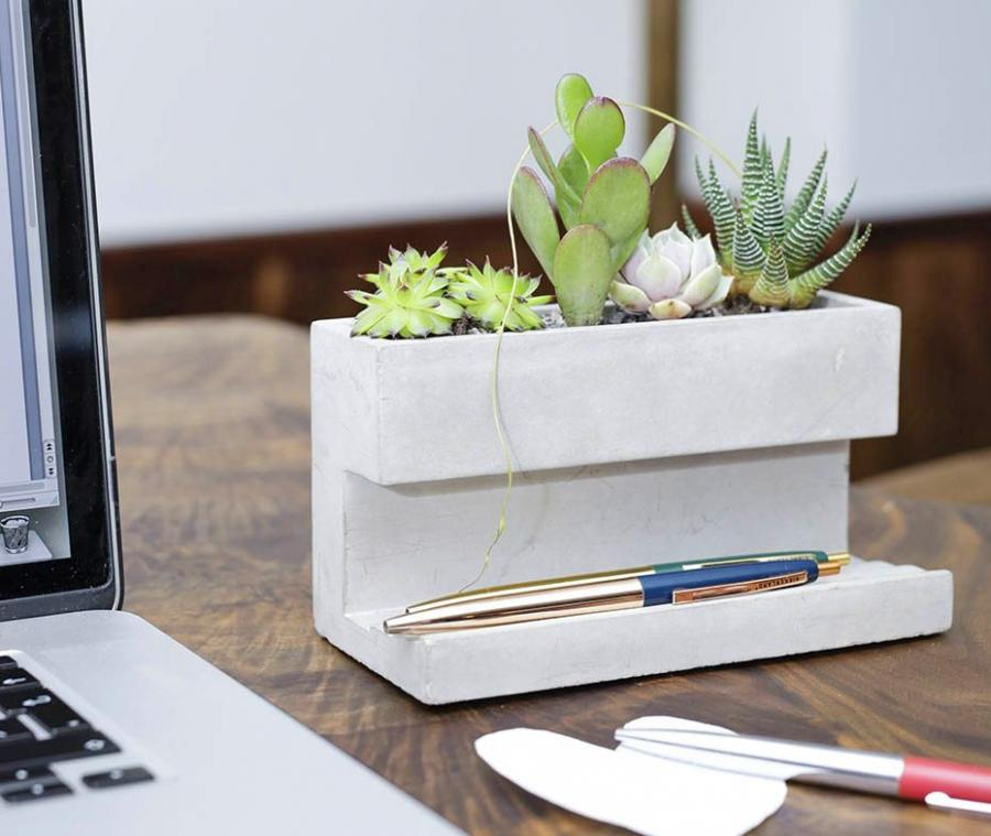 Concrete Desk Planter And Pen Holder