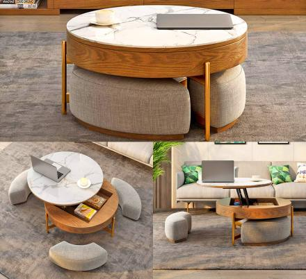 this amazing rising coffee table has 3