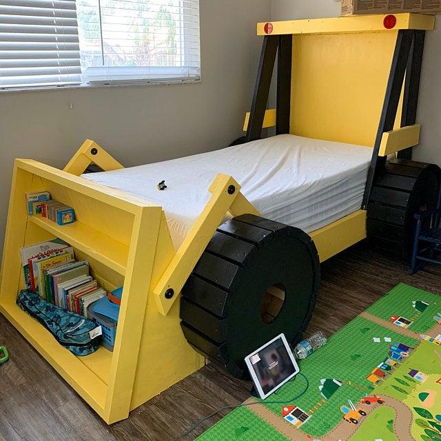 https odditymall com construction truck kids bed bookshelf