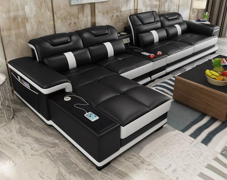 Ultimate Couch Giant Leather Sectional With Integrated Massage Chair And Speakers