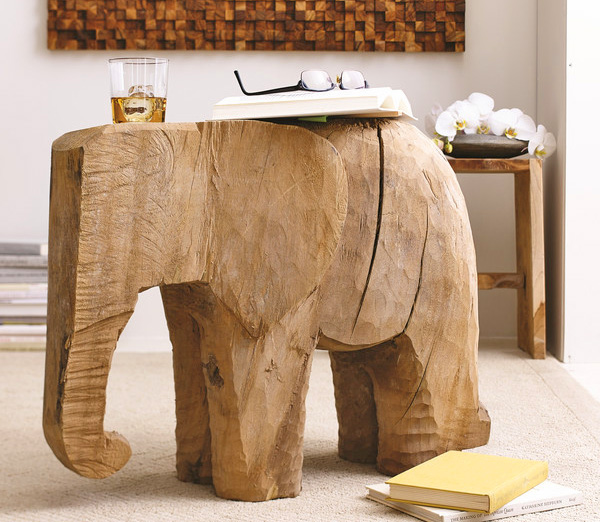 Wooden Elephant Side Table