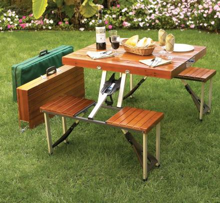 Super Portable Picnic Table Folds Down To A Briefcase For