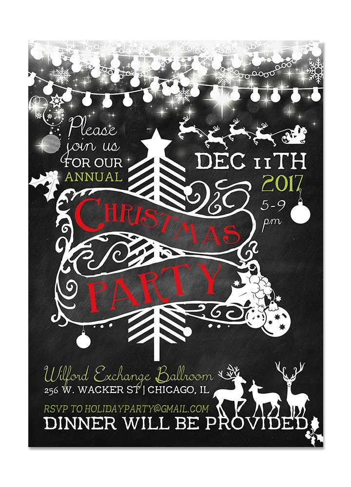 Save The Date Christmas Party Cards Chalkboard Christmas