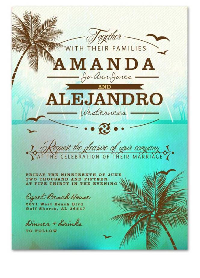 Beach Palm Tree Sea Green Wedding Invitation