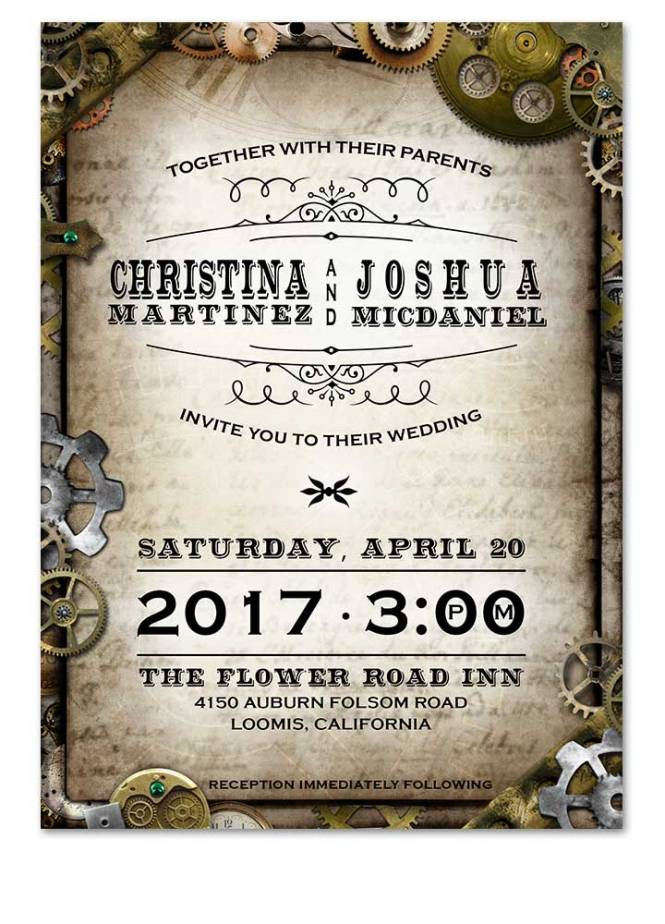 Digital Steampunk Gears Wedding Invitation