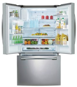 Need more space for holiday foods? Now's the time to clear out the fridge. Samsung Home Appliances is boasting the largest refrigerator on the market at 32 cubic feet -- enough room, they say, for 32 bags of grocery to chill.