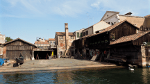 A square is a boatyard for gondolas, where they are built and repaired.