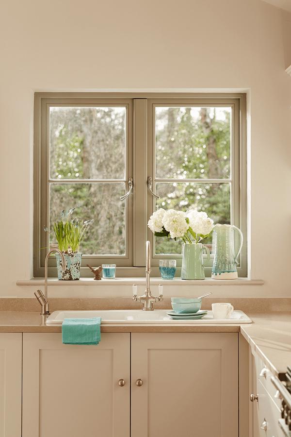Wood Windows - Kitchen Sink