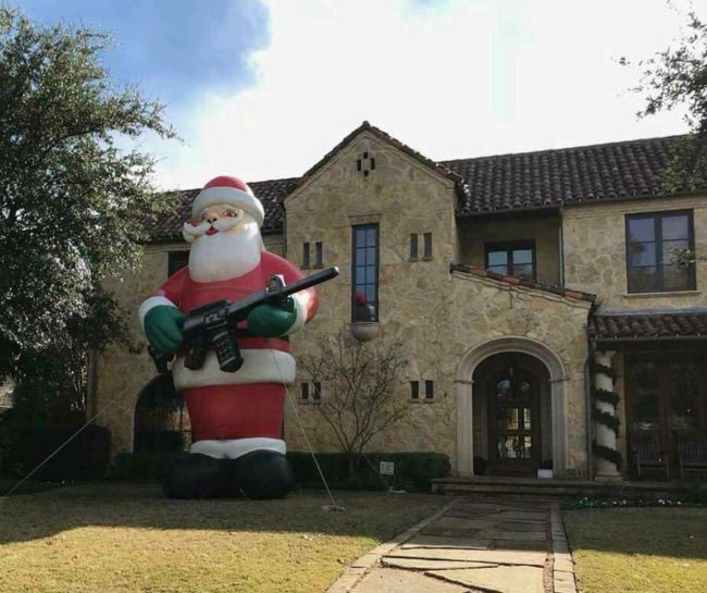 I saw the most Texan Christmas decoration ever today near Dallas