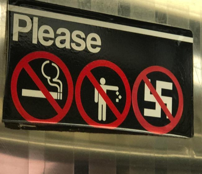 No smoking. No littering. No Nazis. NYC subway