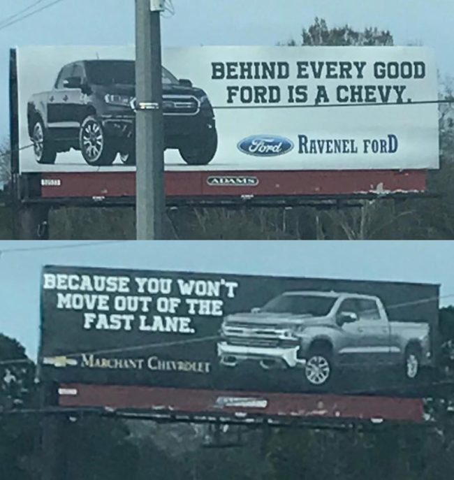 The car dealership billboard shade game is strong outside of Charleston, SC