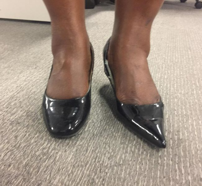 My co-worker wore two different shoes, didn't notice until she got to the office