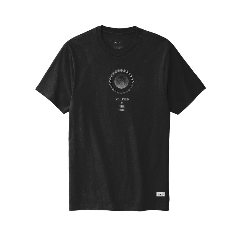 Sculpted by the tides. black tee