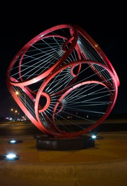 Geometric wire and metal sculptures