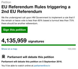 Парламент Великобритании обсудит петицию граждан страны о Regrexit (обратный Brexit процесс)