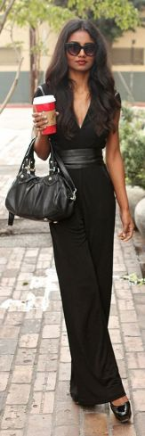 Jumpsuit with leather sash