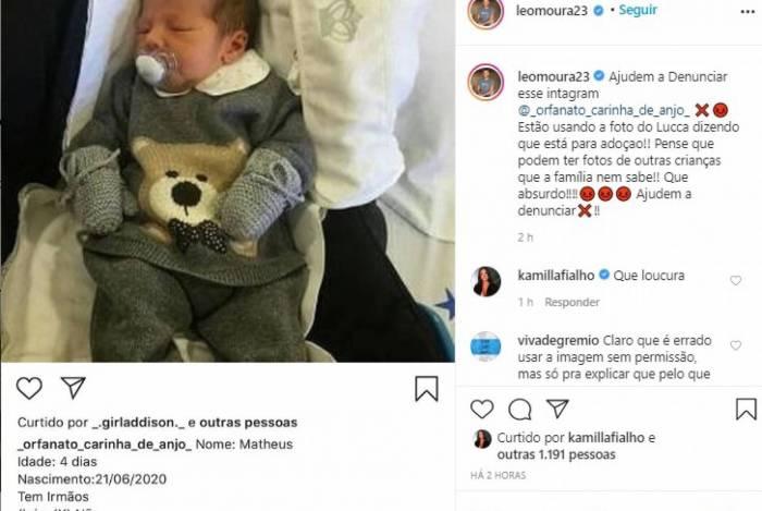 1 leo 18205601 - Léo Moura e a mulher entram em pânico ao se depararem com imagem do filho em site de adoção