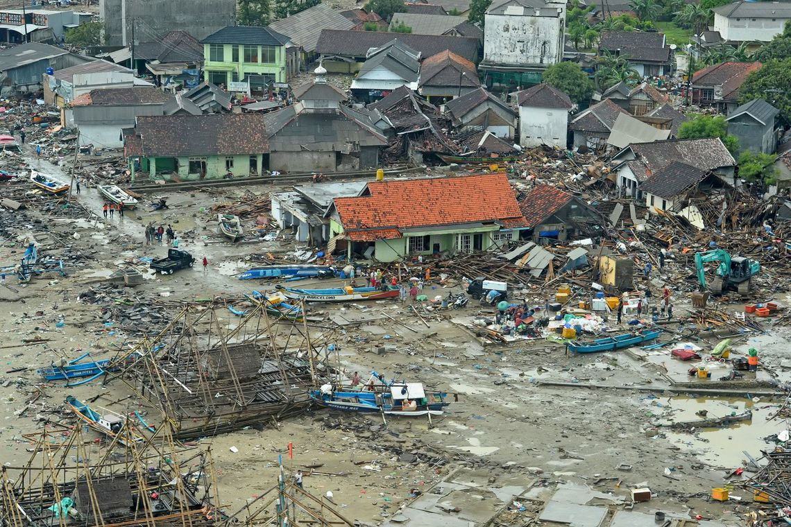 Aerial view of a damaged area after tsunami hit Sunda strait in Banten, Indonesia, December 24, 2018 in this photo obtained by Reuters on December 27, 2018. Picture taken December 24, 2018. Courtesy of Susi Air/Handout via REUTERS  THIS IMAGE HAS BEEN SUPPLIED BY A THIRD PARTY. MANDATORY CREDIT       NO RESALES. NO ARCHIVES.