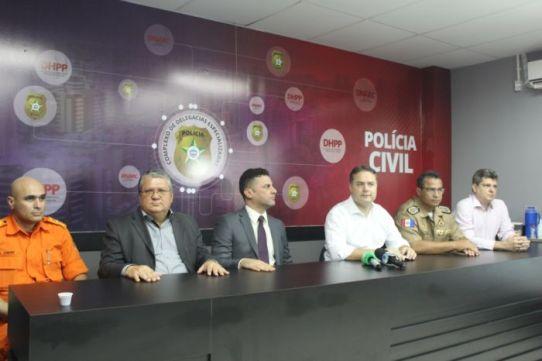 Os números foram apresentados pelo governador Renan Filho durante entrevista coletiva na sede do Complexo de Delegacias Especializadas (DHPP - DRN), em Bebedouro, na manhã desta segunda-feira (4) (Foto: Jessyla Soares)