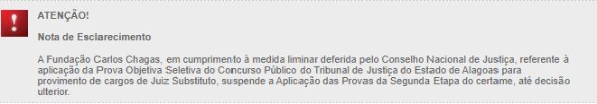 Nota de esclarecimento da Fundação Carlos Chagas, banca organizadora do concurso do TJ-AL. Foto: Redação