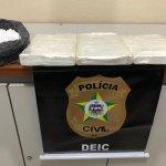 Polícia Civil prende mulher e apreende 3kg de cocaína de elevado grau de pureza em Maceió