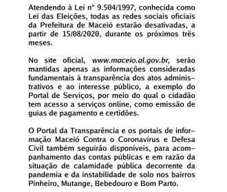 Canais de Comunicação da Prefeitura passam por adequação à Legislação Eleitoral