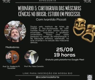 Academia dell'Arte apresenta webinário sobre máscaras cênicas no Brasil