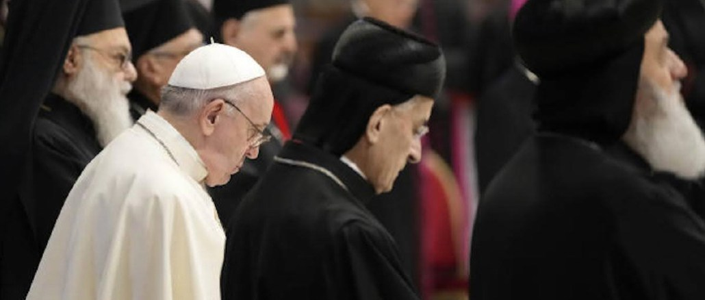 Pope with Catholic and Orthodox religious leaders