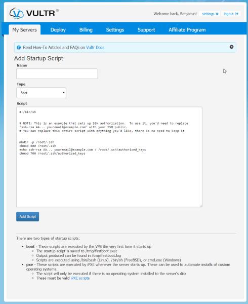 Vultr add startup script