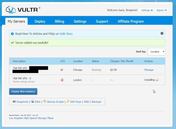 vultr installing new vps