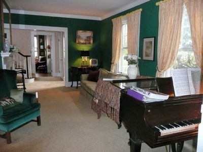 Music room with baby grand piano