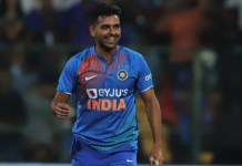 Deepak Chahar of India reacts during the 3rd T20I match between India and South Africa held at the M Chinnaswamy Stadium in Bangalore on the 22nd September 2019