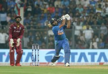 Rohit Sharma of India plays a shot during the third T20I match between India and the West Indies held at the Wankhede Stadium, Mumbai on the 11th December 2019.
