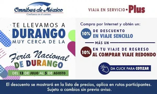 boletos de autobus a durango con Omnibus de México