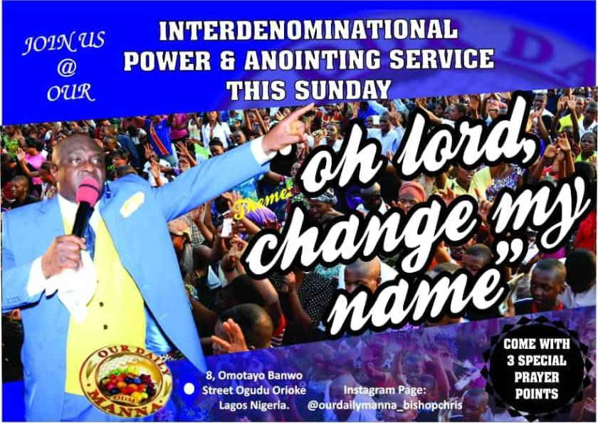 our daily manna annointing service this sunday