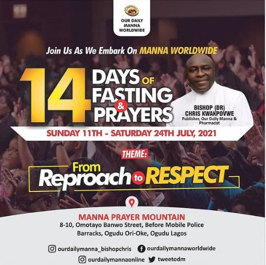 Manna Worldwide 14 days of Fasting and Prayers