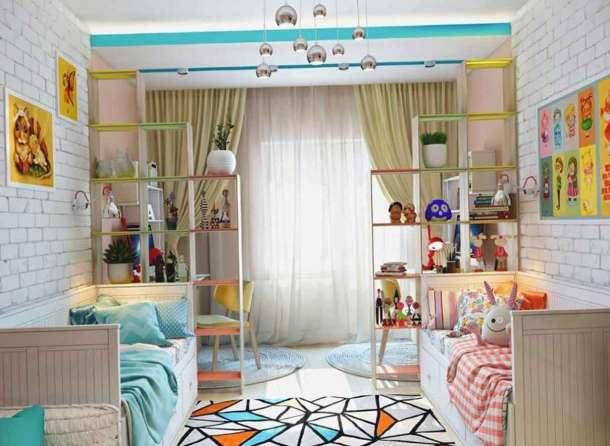 дизайн для детской комнаты, мальчик и девочка