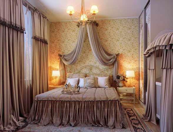 интерьер спальни, шторы