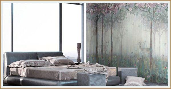 фотообои в спальне, лес