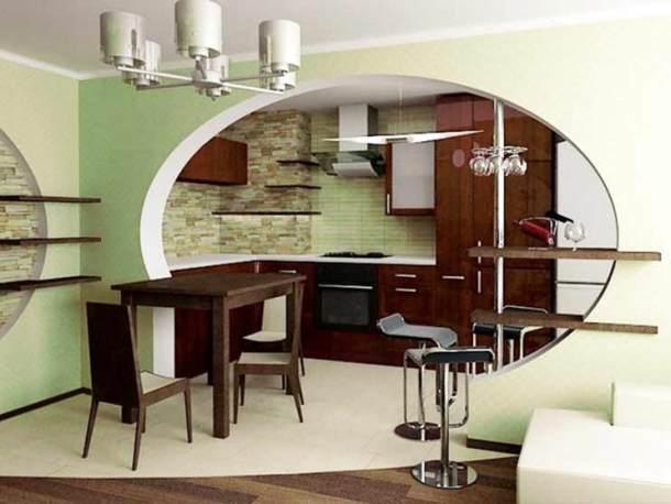 перепланировка кухни - зонирование, круглые арки в проеме