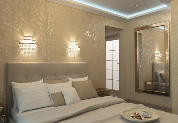 дизайн и стиль спальни, декорирование под золото