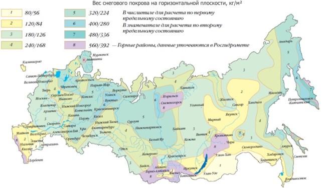 карта снеговой нагрузки россии