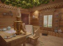 Русская баня с самоваром и вениками
