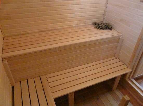 Полок в бане из дерева