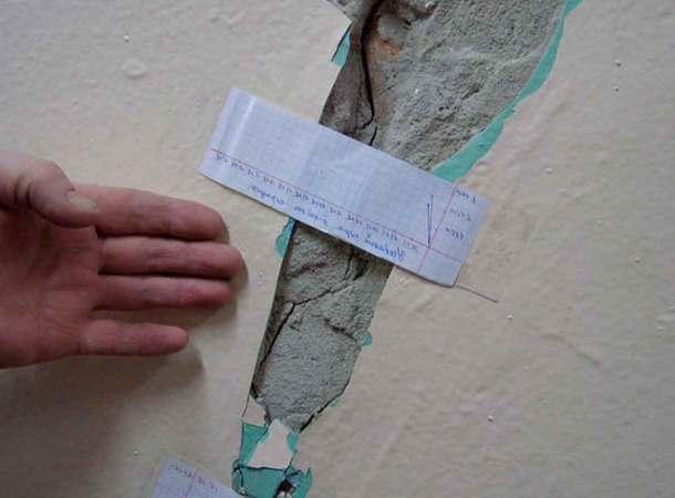 ремонт фундамента, бумажные маячки