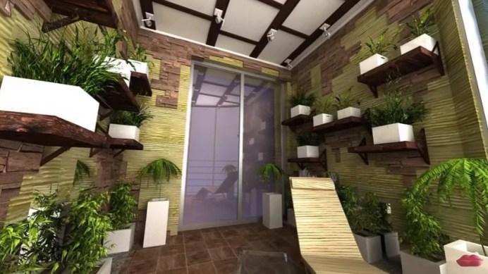 дизайн лоджии - пол, стены, цветы
